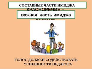 СОСТАВНЫЕ ЧАСТИ ИМИДЖА КРАСНОРЕЧИЕ – важная часть имиджа педагога. ГОЛОС ДОЛЖ