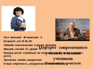 Портрет современного учителя глазами учеников Внешность учителя Пол: женский