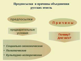 Предпосылки и причины объединения русских земель Социально-экономические Поли