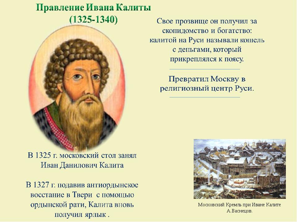 Московский Кремль при Иване Калите А.Васнецов.