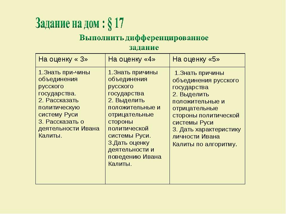 На оценку « 3»На оценку «4»На оценку «5» 1.Знать при-чины объединения русск...