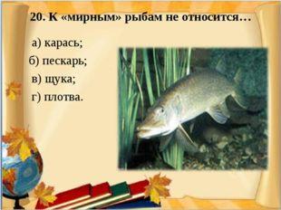 20. К «мирным» рыбам не относится… а) карась; б) пескарь; в) щука; г) плотва.