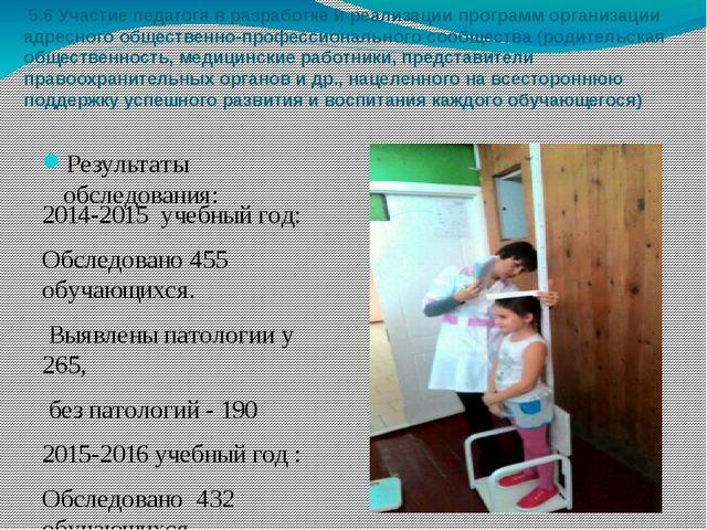 5.6 Участие педагога в разработке и реализации программ организации адресног...