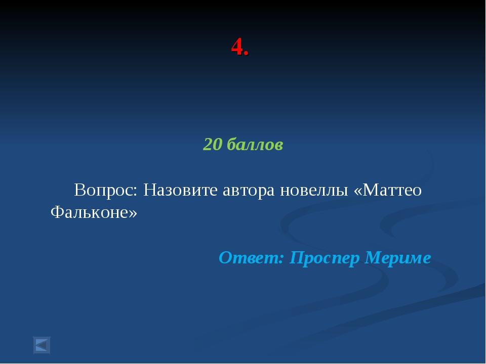 4. 20 баллов Вопрос: Назовите автора новеллы «Маттео Фальконе» Ответ: Проспер...