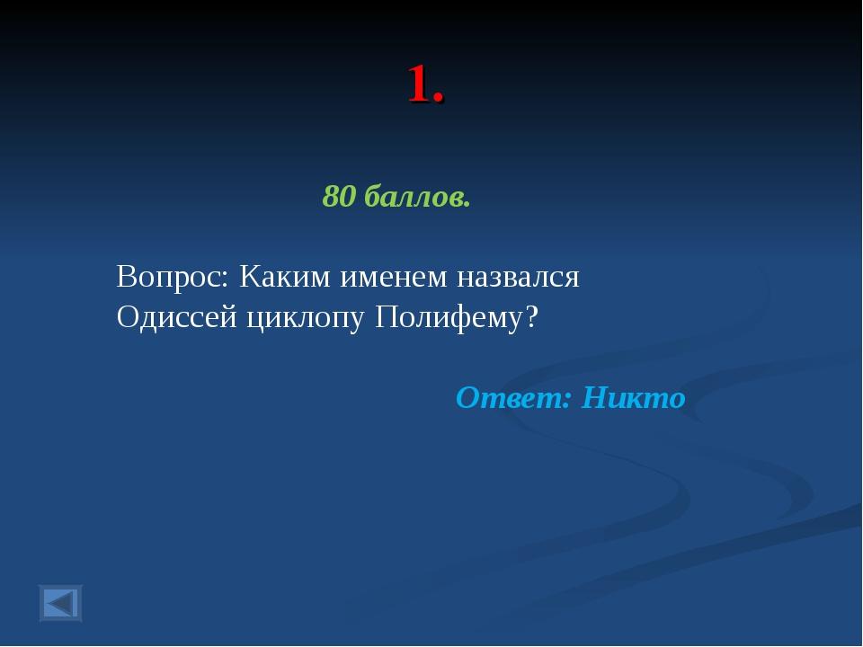 1. 80 баллов. Вопрос: Каким именем назвался Одиссей циклопу Полифему? Ответ:...