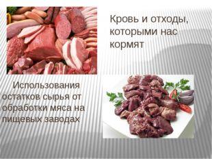 Кровь и отходы, которыми нас кормят Использования остатков сырья от обработки