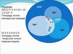 Решение: А)12-( 5 +( 4-1,5) + (3-1,5-1))= 4 Площадь полов непокрытая коврами