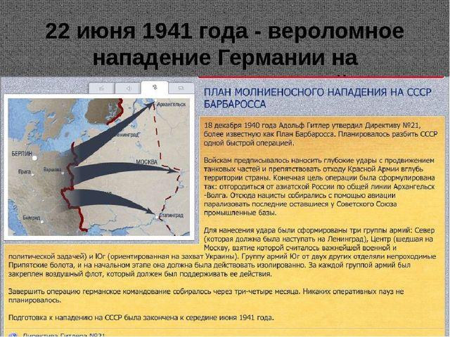 22 июня 1941 года - вероломное нападение Германии на СССР.Начало Великой Оте...