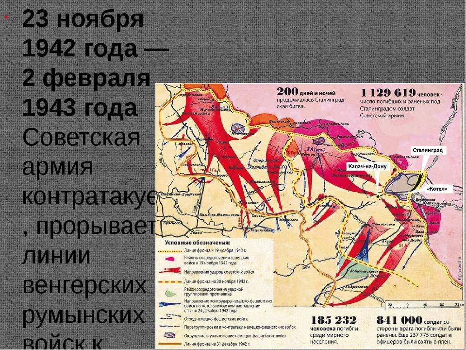 23 ноября 1942 года — 2 февраля 1943 года Советская армия контратакует, прор...