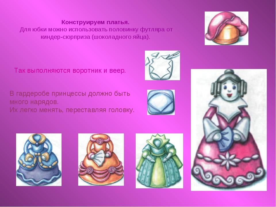 Конструируем платья. Для юбки можно использовать половинку футляра от киндер-...