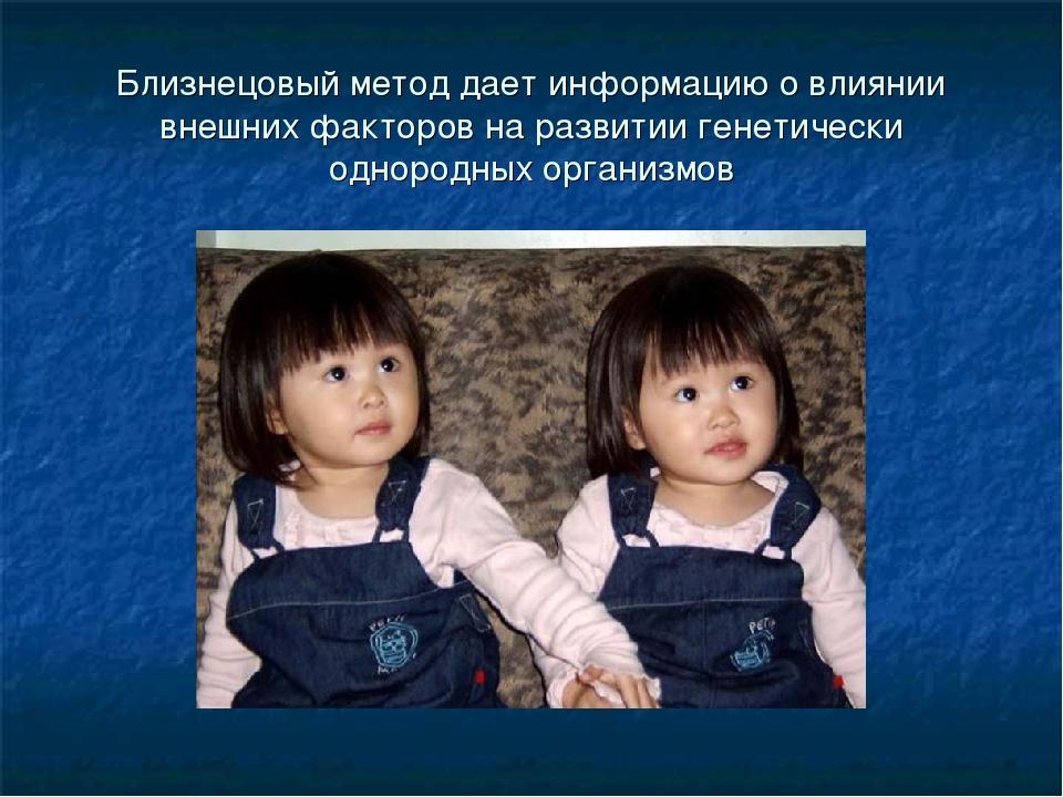 Близнецовый метод дает информацию о влиянии внешних факторов на развитии гене...