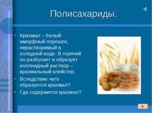 Полисахариды. Крахмал – белый аморфный порошок, нерастворимый в холодной воде