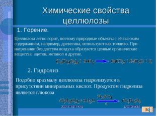 Химические свойства целлюлозы 1. Горение. Целлюлоза легко горит, поэтому прир