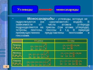 Моносахариды – углеводы, которые не гидролизуются (не «разлагаются» водой).