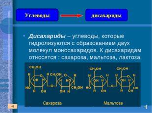 Дисахариды – углеводы, которые гидролизуются с образованием двух молекул моно