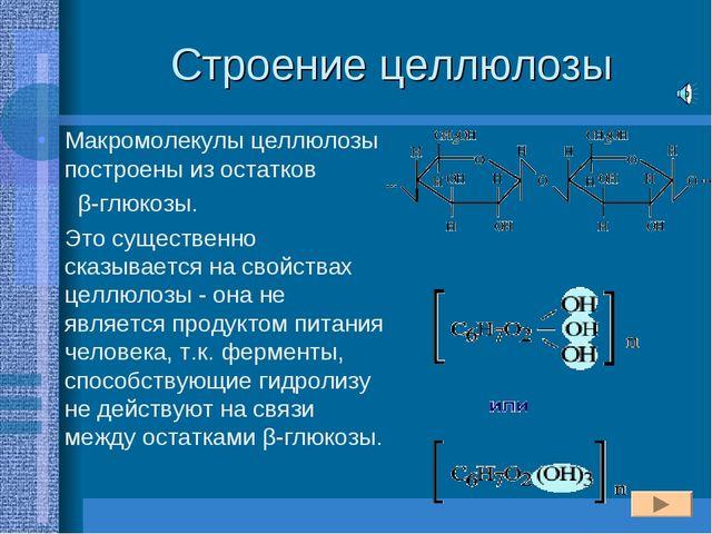 Строение целлюлозы Макромолекулы целлюлозы построены из остатков β-глюкозы. Э...