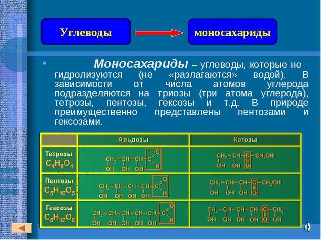 Моносахариды – углеводы, которые не гидролизуются (не «разлагаются» водой)....