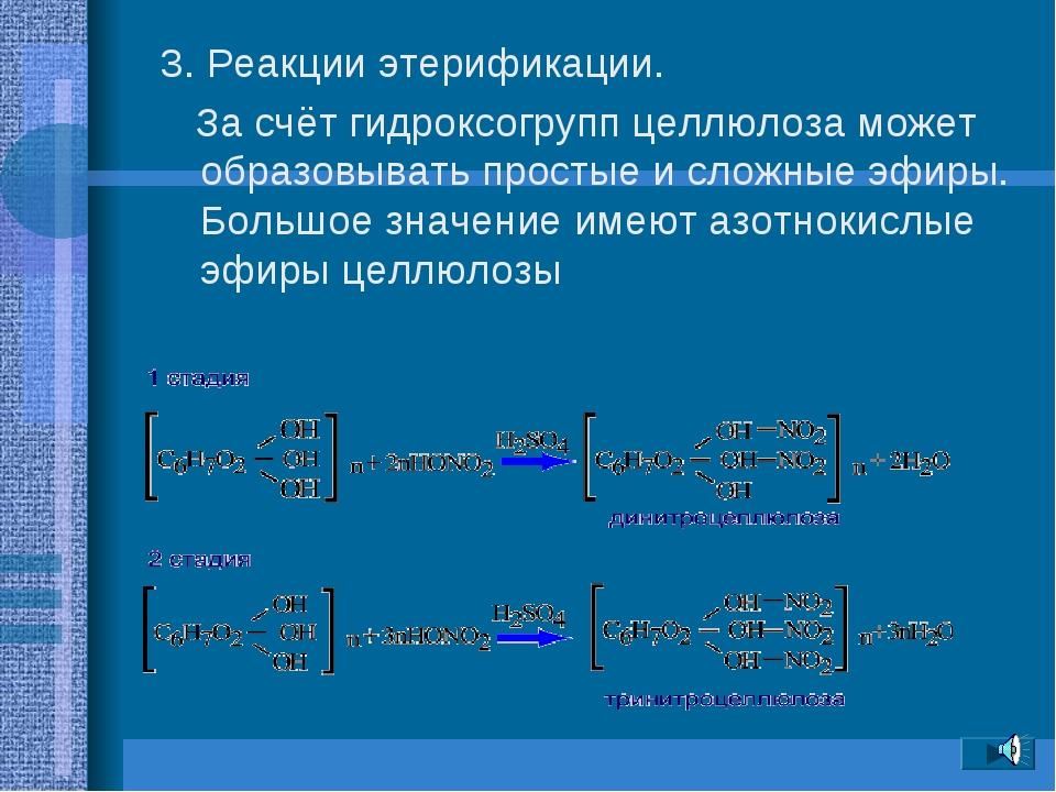 3. Реакции этерификации. За счёт гидроксогрупп целлюлоза может образовывать п...