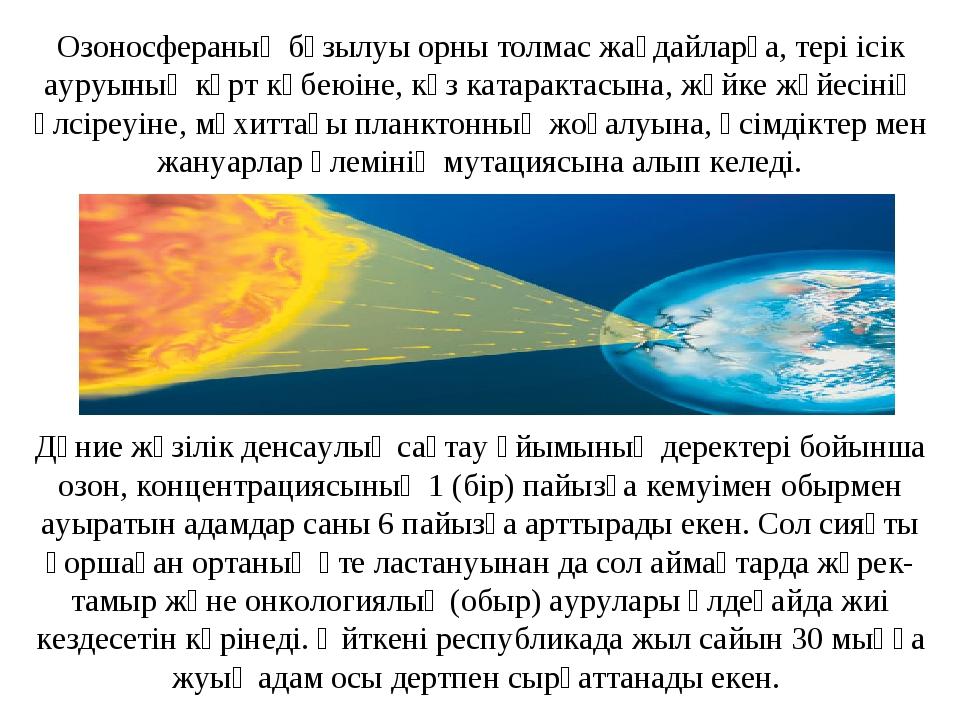 Дүние жүзілік денсаулық сақтау ұйымының деректері бойынша озон, концентрацияс...