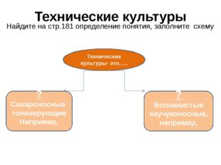 Технические культуры Найдите на стр.181 определение понятия, заполните схему