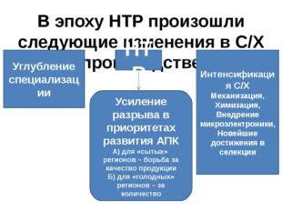 В эпоху НТР произошли следующие изменения в С/Х производстве НТР Углубление с