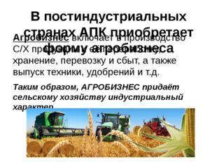 В постиндустриальных странах АПК приобретает форму агробизнеса Агробизнес вкл