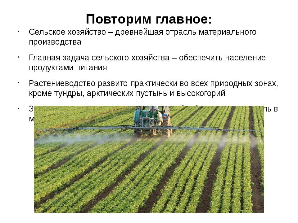 Повторим главное: Сельское хозяйство – древнейшая отрасль материального произ...
