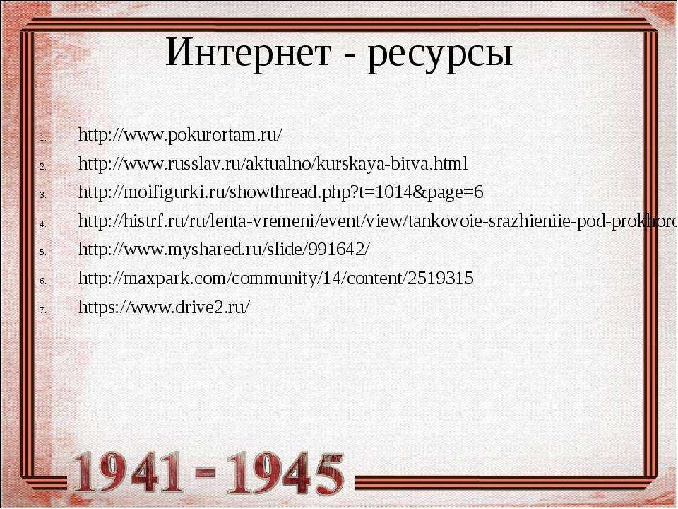 Интернет - ресурсы http://www.pokurortam.ru/ http://www.russlav.ru/aktualno/k...