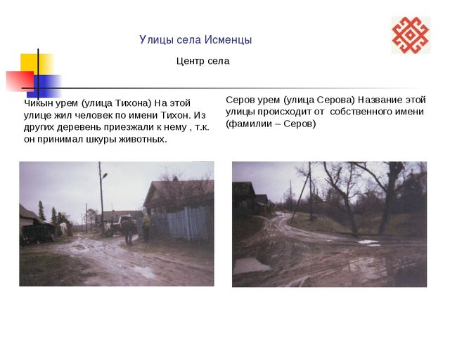 Улицы села Исменцы Чикын урем (улица Тихона) На этой улице жил человек по им...