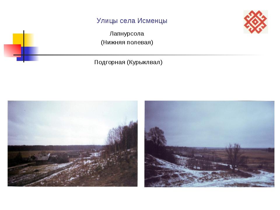 Подгорная (Курыклвал) Улицы села Исменцы Лапнурсола (Нижняя полевая)
