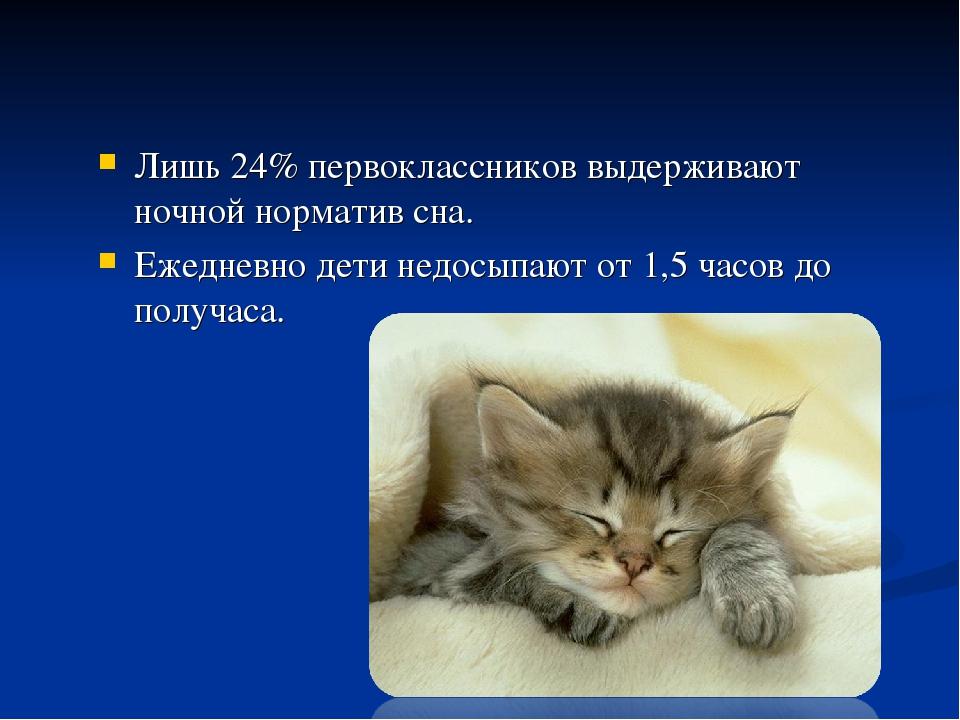 Лишь 24% первоклассников выдерживают ночной норматив сна. Ежедневно дети недо...
