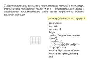 Требуется написать программу, при выполнении которой с клавиатуры считываются