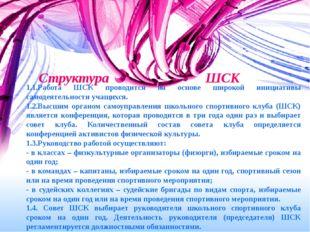 Структура ШСК 1.1.Работа ШСК проводится на основе широкой инициативы самодея