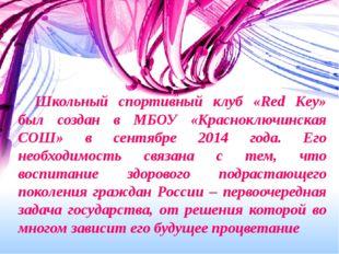 Школьный спортивный клуб «Red Key» был создан в МБОУ «Красноключинская СОШ»