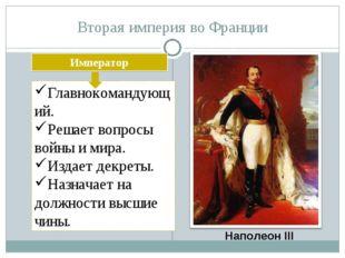 Вторая империя во Франции Наполеон III Император Главнокомандующий. Решает во