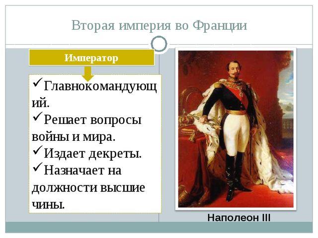 Вторая империя во Франции Наполеон III Император Главнокомандующий. Решает во...