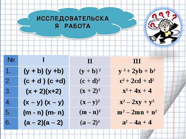 ИССЛЕДОВАТЕЛЬСКАЯ РАБОТА №I 1.(y + b) (y +b) 2. (с + d ) (c +d) 3.(х + 2)...