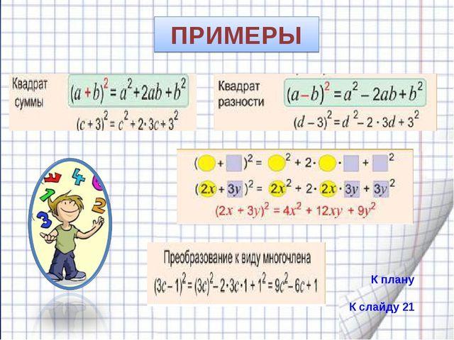 ПРИМЕРЫ К плану К слайду 21