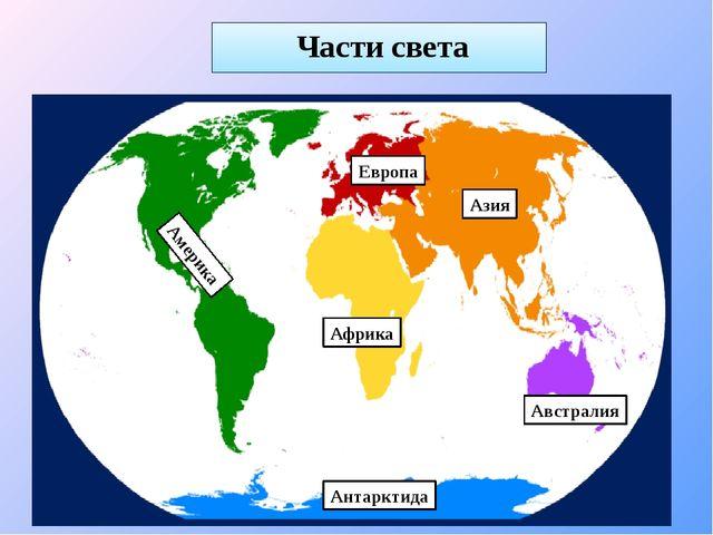 Части света Европа Азия Африка Америка Австралия Антарктида