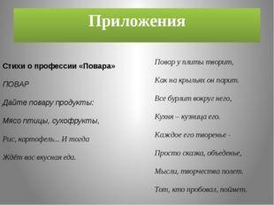 Приложения Стихи о профессии «Повара» ПОВАР Дайте повару продукты: Мясо птицы