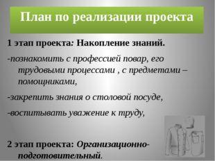План по реализации проекта 1 этап проекта: Накопление знаний. -познакомить с