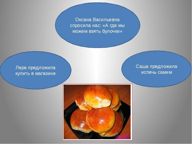 Оксана Васильевна спросила нас: «А где мы можем взять булочки» Лера предложил...