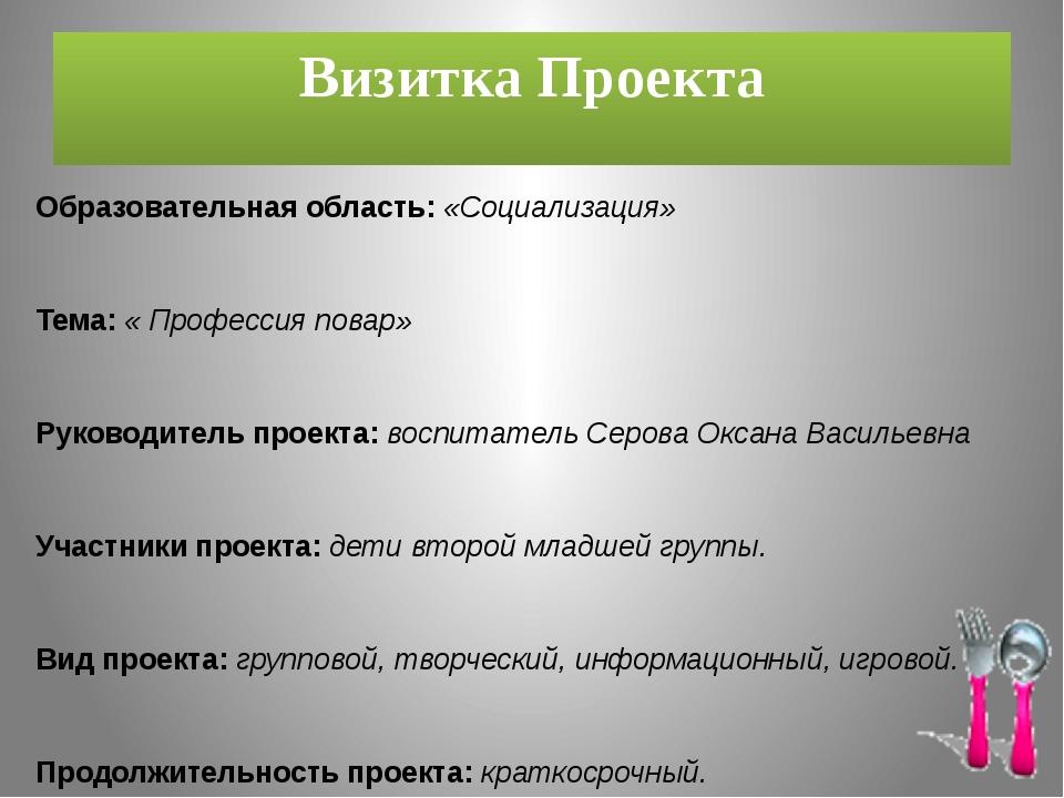 Визитка Проекта Образовательная область: «Социализация» Тема: « Профессия пов...
