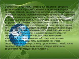 Экологические проблемы, которые выражаются в нарушении уравновешенности услов