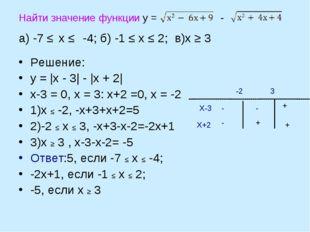 Найти значение функции у = - а) -7 ≤ х ≤ -4; б) -1 ≤ х ≤ 2; в)х ≥ 3 Решение: