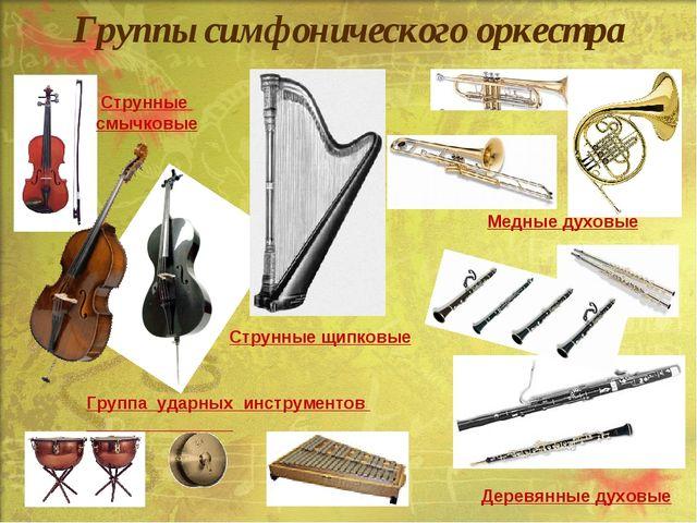 Струнные смычковые Группа ударных инструментов Медные духовые Деревянные дух...