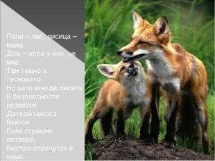 Папа – лис, лисица – мама, Дом – нора у них, не яма. Там темно и тесновато,