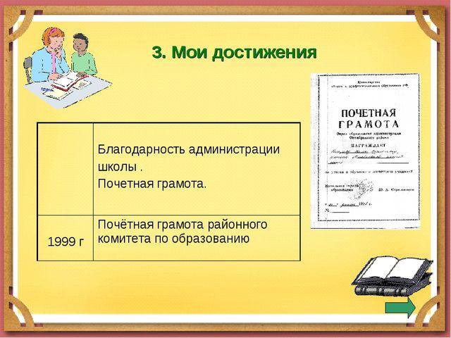 3. Мои достижения  Благодарность администрации школы . Почетная грамота. 19...