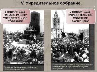 V. Учредительное собрание 5 ЯНВАРЯ 1918 НАЧАЛО РАБОТУ УЧРЕДИТЕЛЬНОЕ СОБРАНИЕ