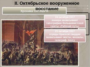 Хроника ОКТЯБРЯ 24 октября 1917 юнкера захватывают типографию большевистской